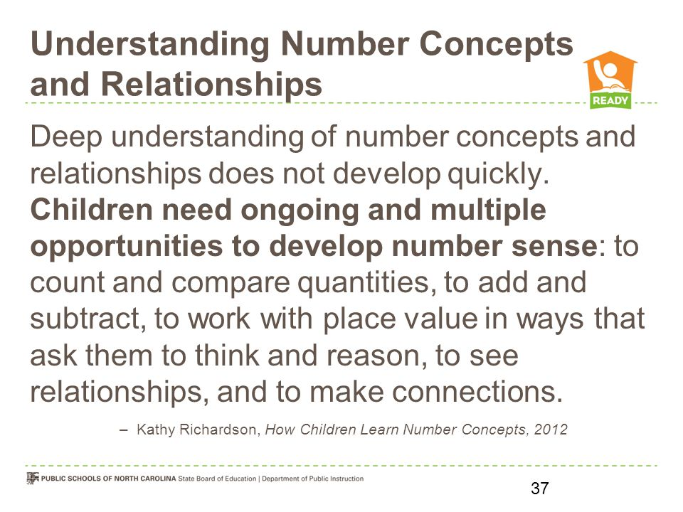 Understanding Number Concepts and Relationships Deep understanding of number concepts and relationships does not develop quickly.