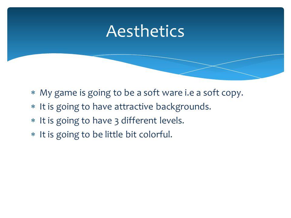  My game is going to be a soft ware i.e a soft copy.