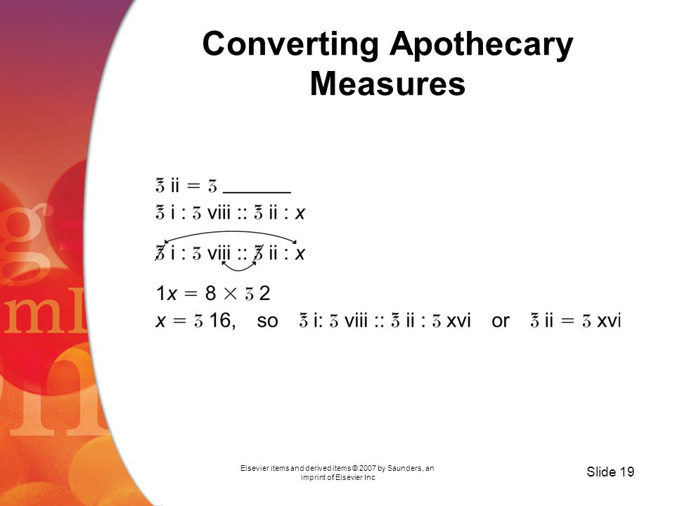 Elsevier items and derived items © 2007 by Saunders, an imprint of Elsevier Inc Slide 19 Converting Apothecary Measures
