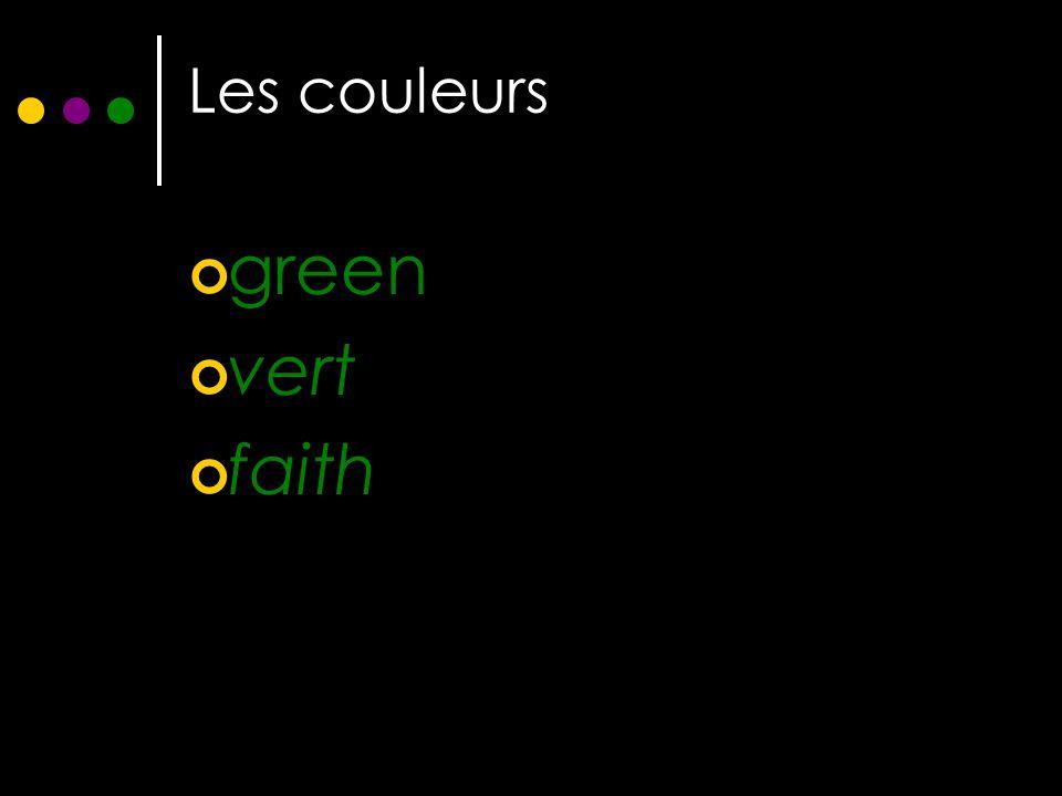Les couleurs green vert faith