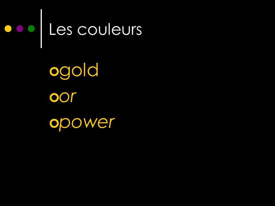 Les couleurs gold or power