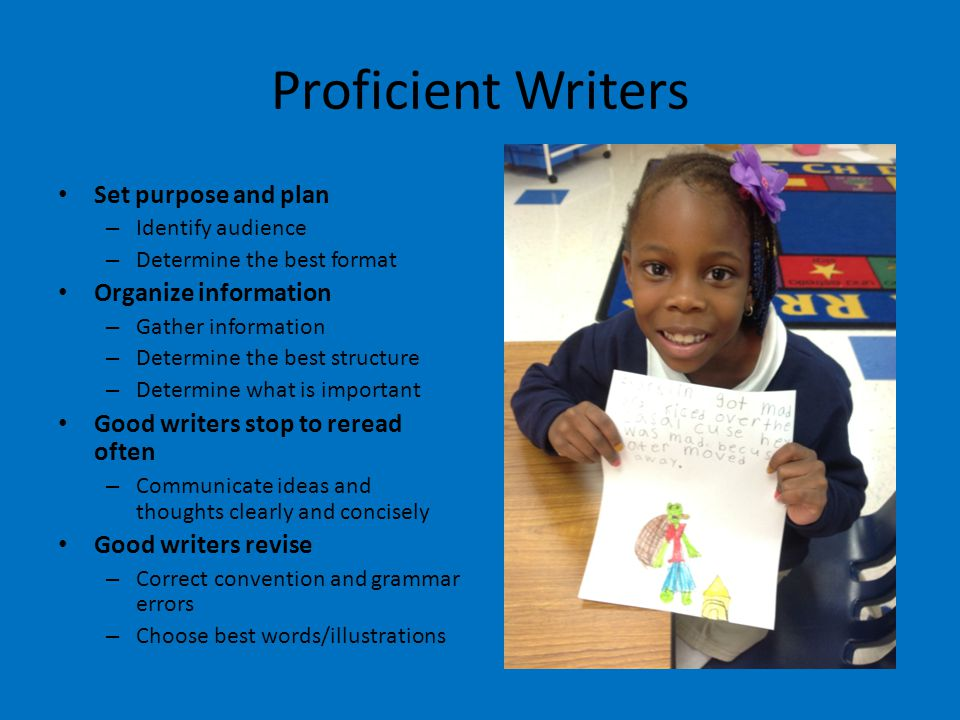 Proficient Writers Set purpose and plan – Identify audience – Determine the best format Organize information – Gather information – Determine the best