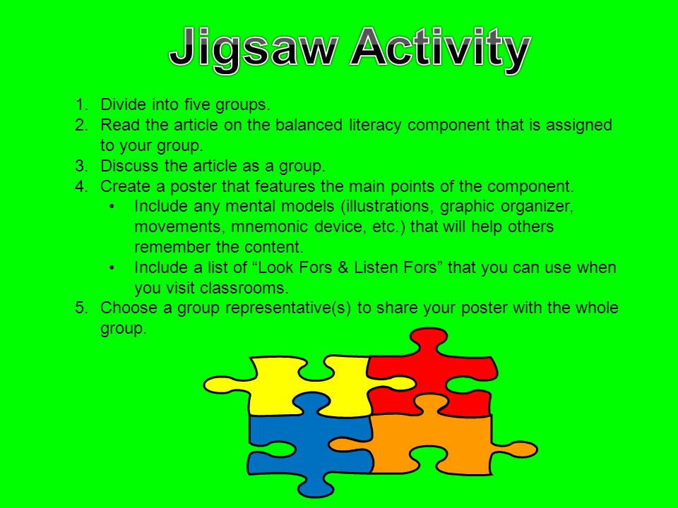 1.Divide into five groups. 2.Read the article on the balanced literacy component that is assigned to your group. 3.Discuss the article as a group. 4.C