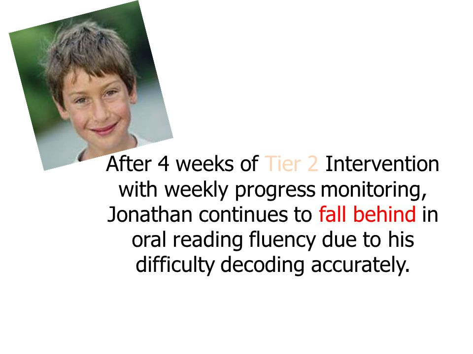 After 4 weeks of Tier 2 Intervention with weekly progress monitoring, Jonathan continues to fall behind in oral reading fluency due to his difficulty decoding accurately.