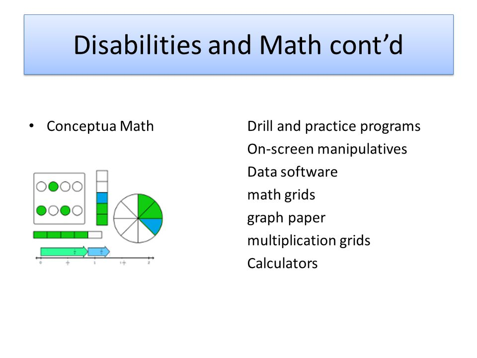 Disabilities and Math cont'd Drill and practice programs On-screen manipulatives Data software math grids graph paper multiplication grids Calculators Conceptua Math