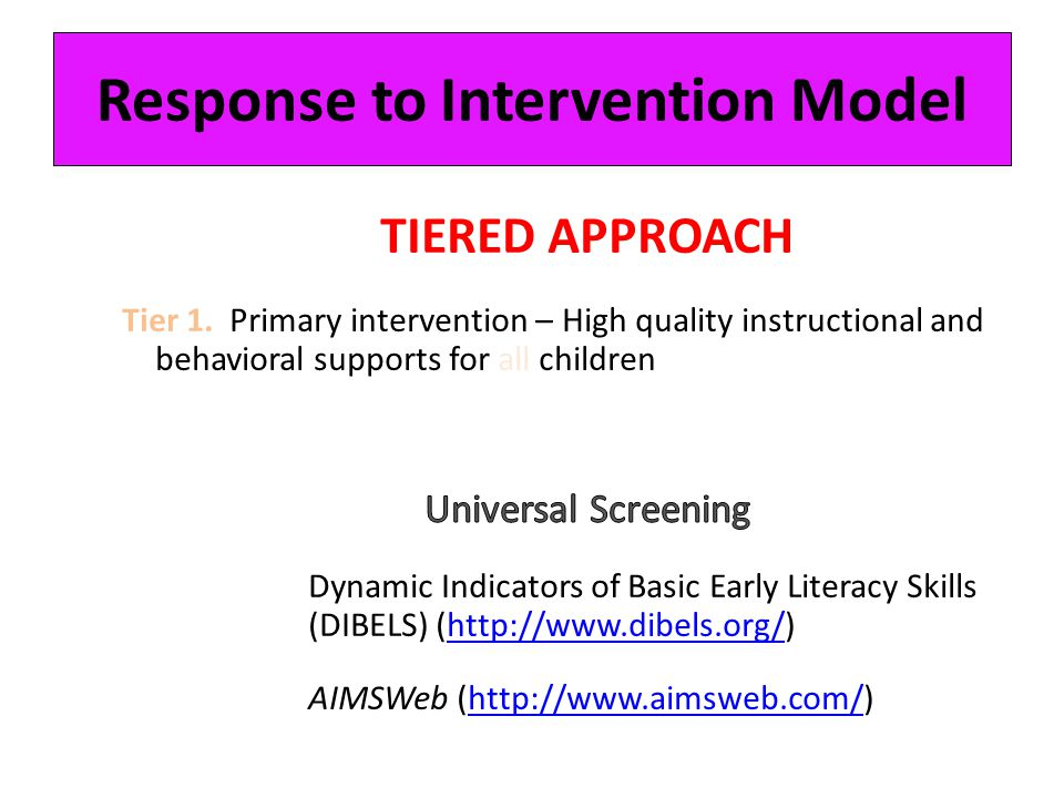 Response to Intervention Model