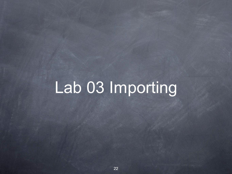 22 Lab 03 Importing