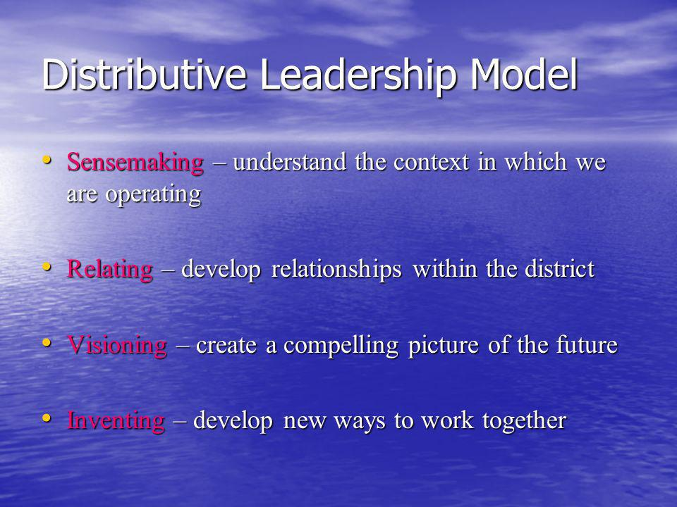 Distributive Leadership Model Sensemaking – understand the context in which we are operating Sensemaking – understand the context in which we are operating Relating – develop relationships within the district Relating – develop relationships within the district Visioning – create a compelling picture of the future Visioning – create a compelling picture of the future Inventing – develop new ways to work together Inventing – develop new ways to work together