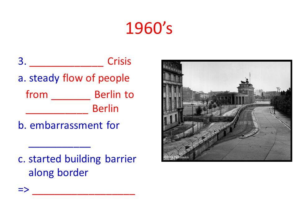 1960's 3. _____________ Crisis a.