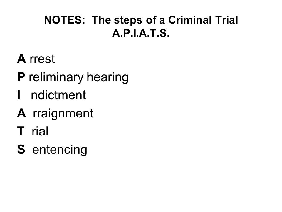 NOTES: The steps of a Criminal Trial A.P.I.A.T.S.