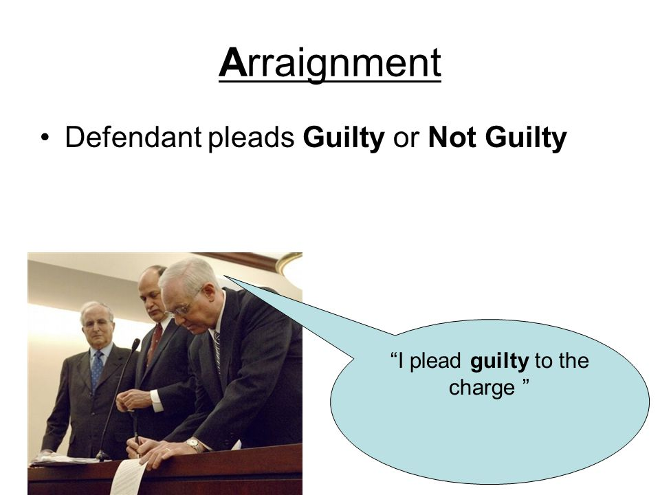 Arraignment Defendant pleads Guilty or Not Guilty I plead guilty to the charge
