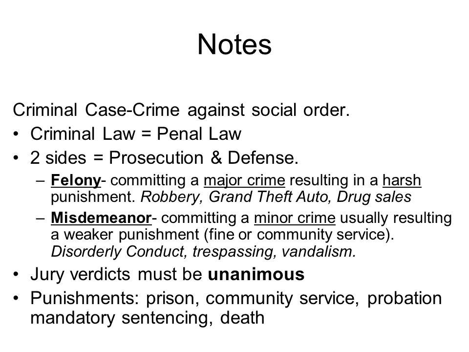 Notes Criminal Case-Crime against social order.