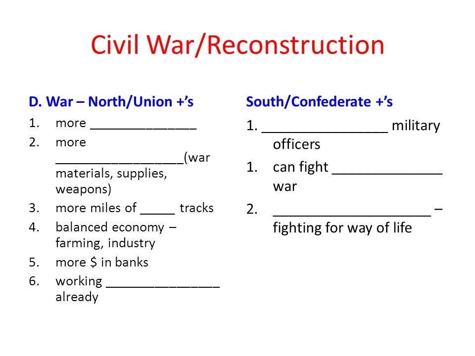 Civil War/Reconstruction D.