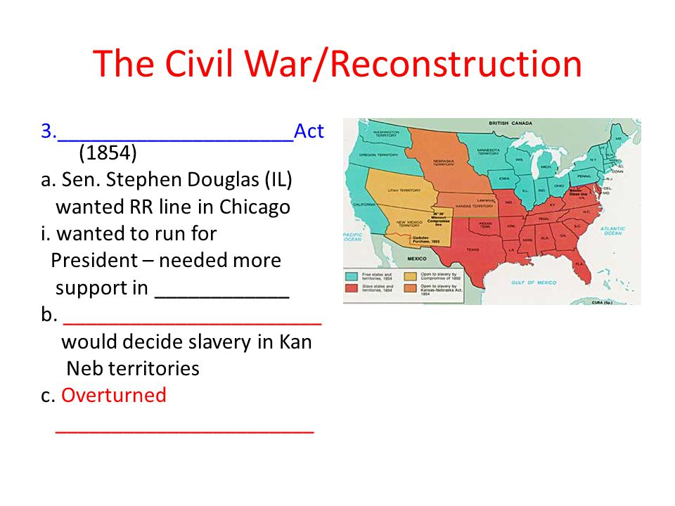 The Civil War/Reconstruction 3._____________________Act (1854) a.