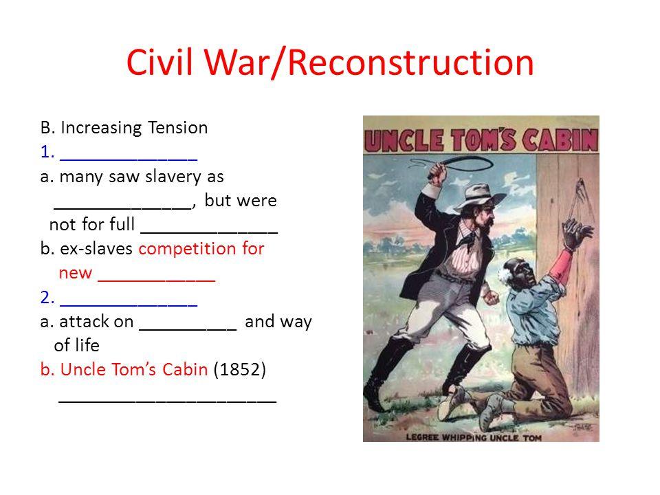Civil War/Reconstruction B.Increasing Tension 1. ______________ a.