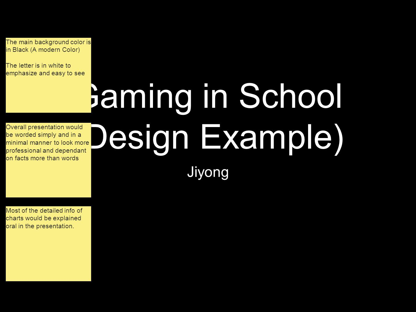 Gaming in School (Design Example) Jiyong The main background color is in Black (A modern Color) The letter is in white to emphasize and easy to see Th