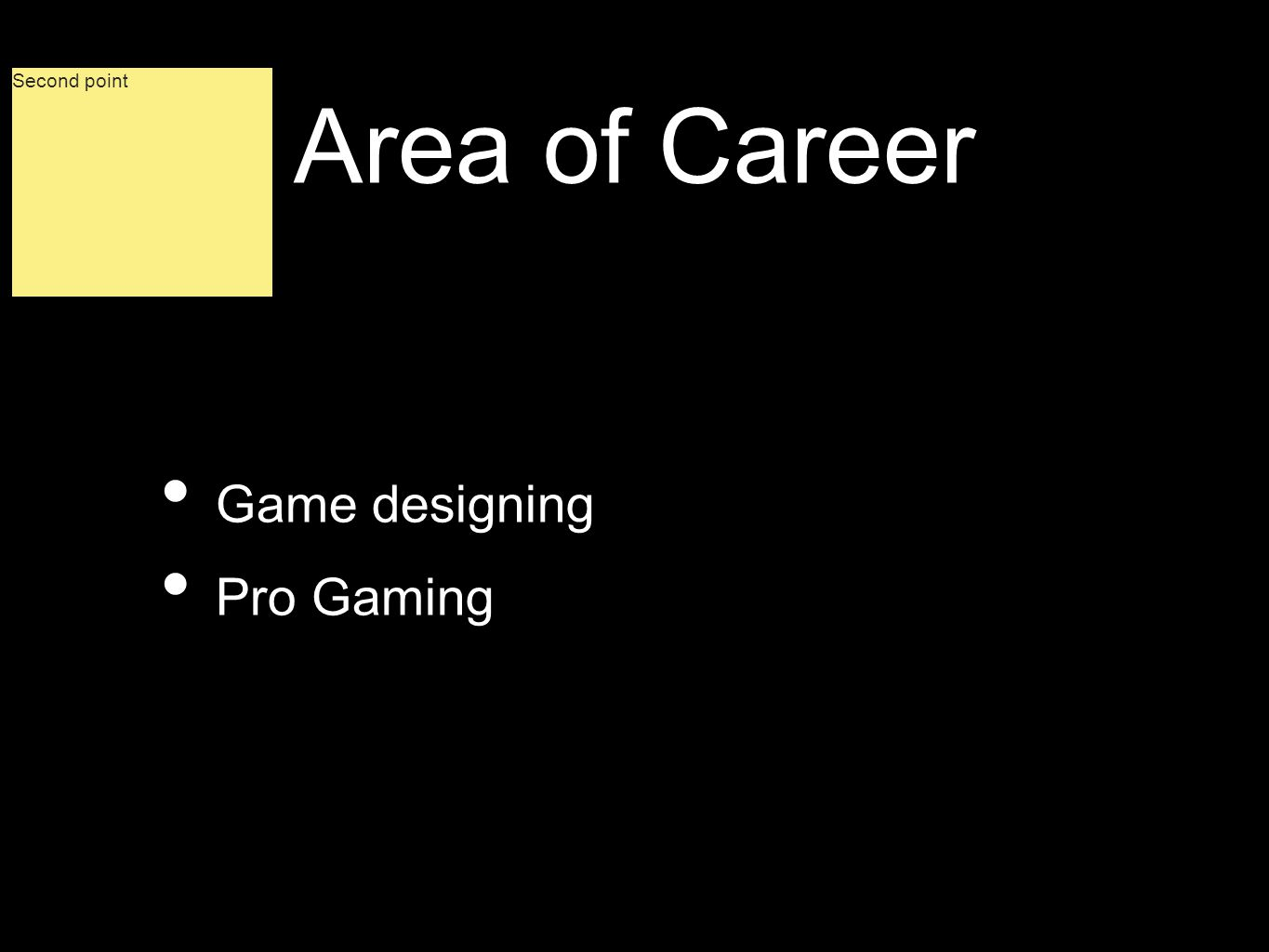 Area of Career Game designing Pro Gaming Second point