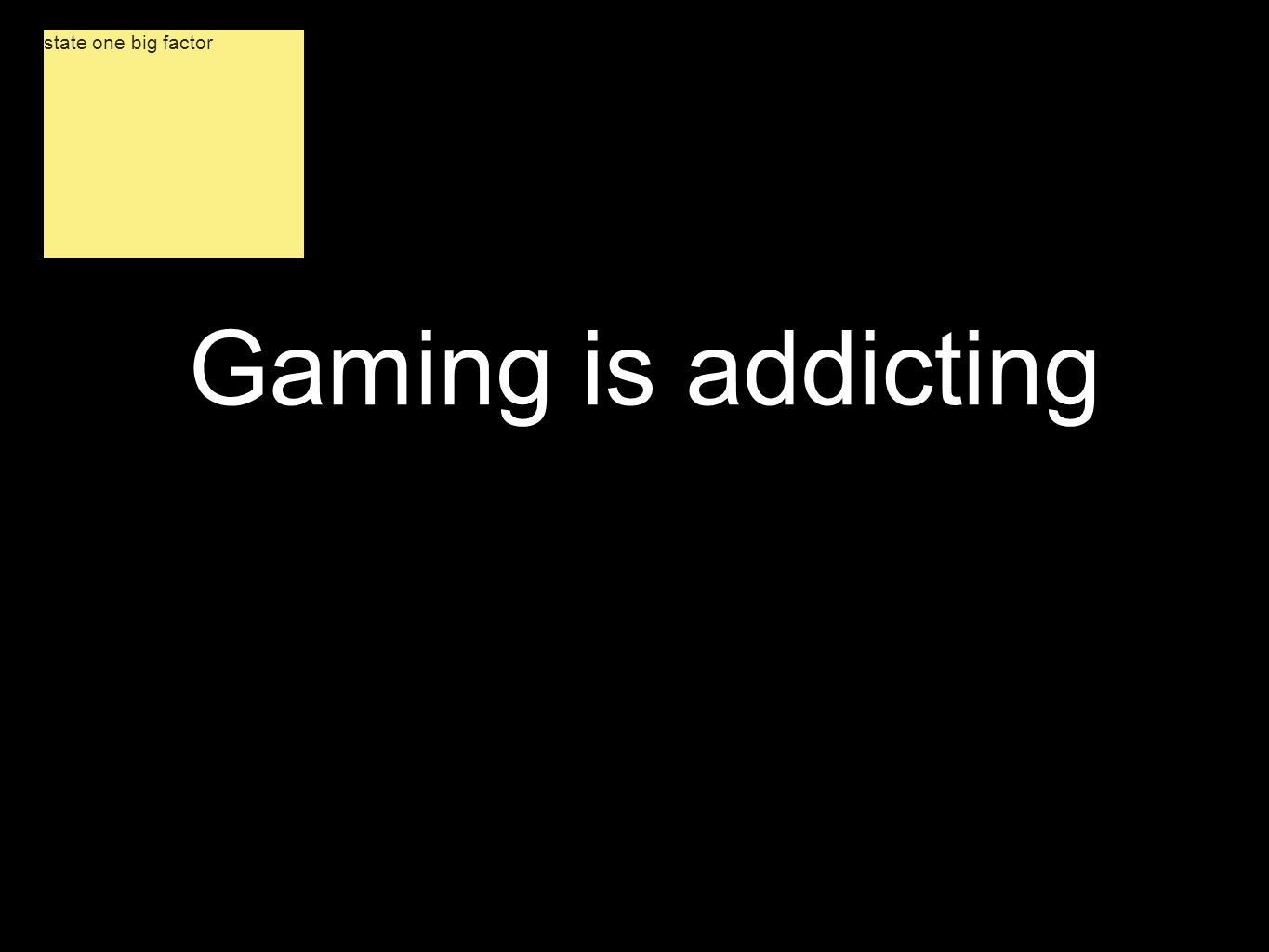 Gaming is addicting state one big factor