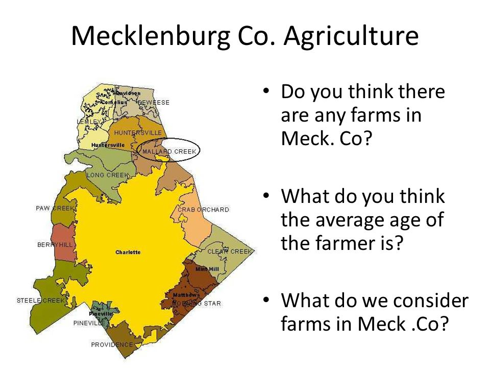 Mecklenburg Co. Agriculture Do you think there are any farms in Meck. Co? What do you think the average age of the farmer is? What do we consider farm