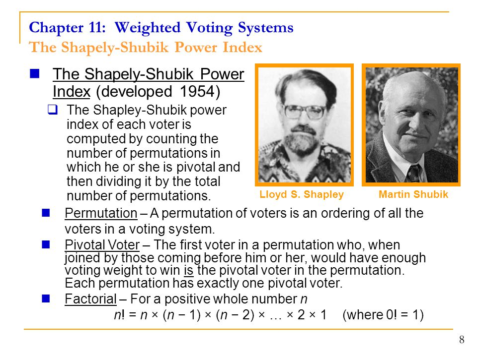 Chapter 11: Weighted Voting Systems The Shapely-Shubik Power Index The Shapely-Shubik Power Index (developed 1954)  The Shapley-Shubik power index of