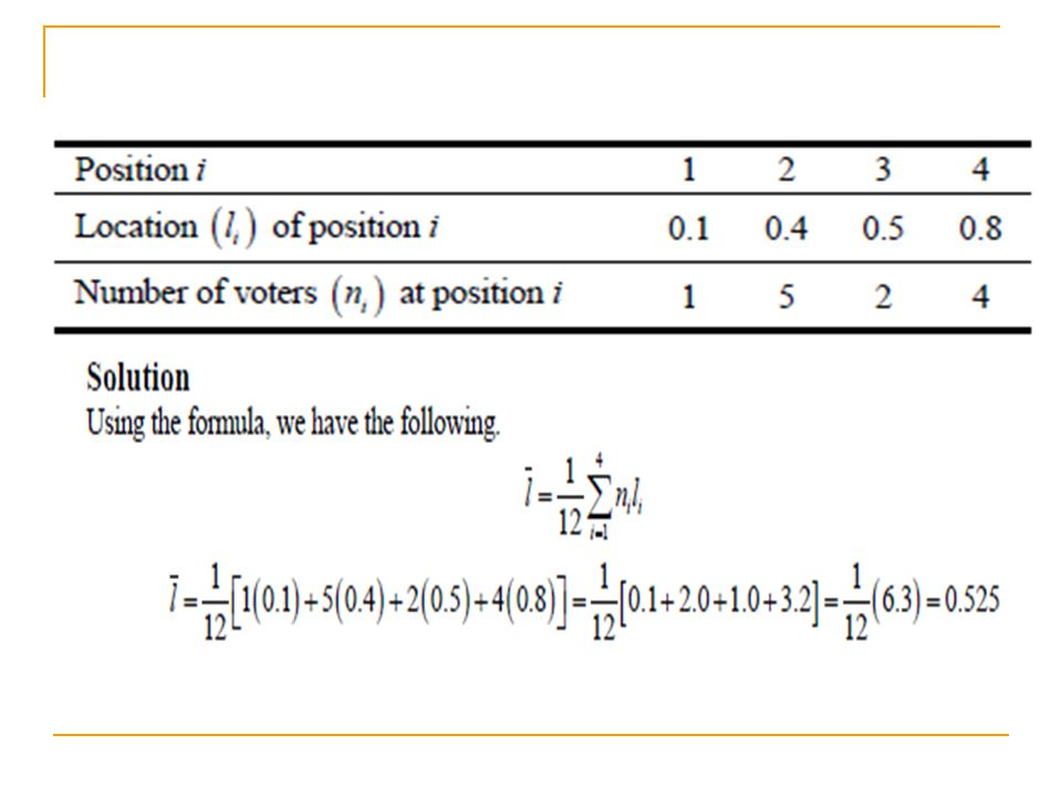 Chapter 12: Electing the President Spatial Models for Two-Candidate Elections  When the mean Ī and median M are the same, you could possibly have a bimodal (two-peak) distribution and symmetry (mirror image) about M.