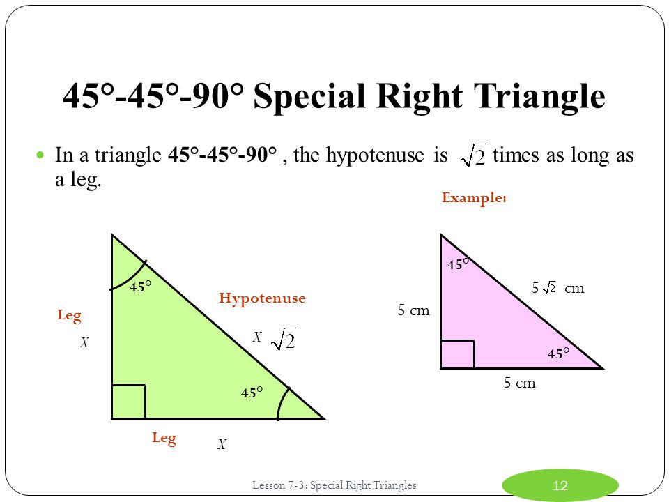 45°-45°-90° Special Right Triangle In a triangle 45°-45°-90°, the hypotenuse is times as long as a leg.