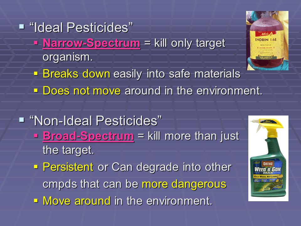  Pre-1940s (First-generation pesticides)  Inorganics (Minerals)  Contain lead, mercury, and arsenic  Very persistent & bioaccumulate  Organics (Botanicals)  Plant-derived  Break down readily  Post-1940s (Second-generation pesticides)  Synthetic Botanicals  Made by altering natural botanicals  Ex: dichlorodiphenyltrichloroethane (DDT)