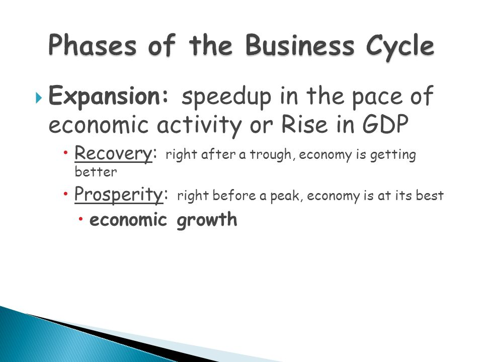  Expansion: speedup in the pace of economic activity or Rise in GDP  Recovery: right after a trough, economy is getting better  Prosperity: right b