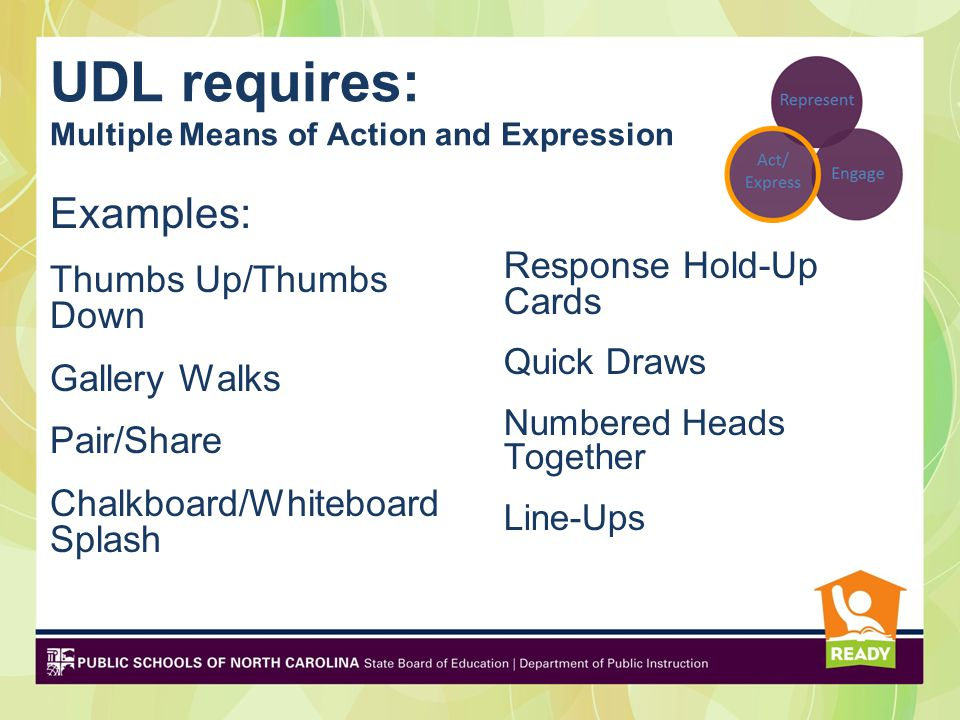 UDL requires: Multiple Means of Action and Expression Examples: Thumbs Up/Thumbs Down Gallery Walks Pair/Share Chalkboard/Whiteboard Splash Response Hold-Up Cards Quick Draws Numbered Heads Together Line-Ups and