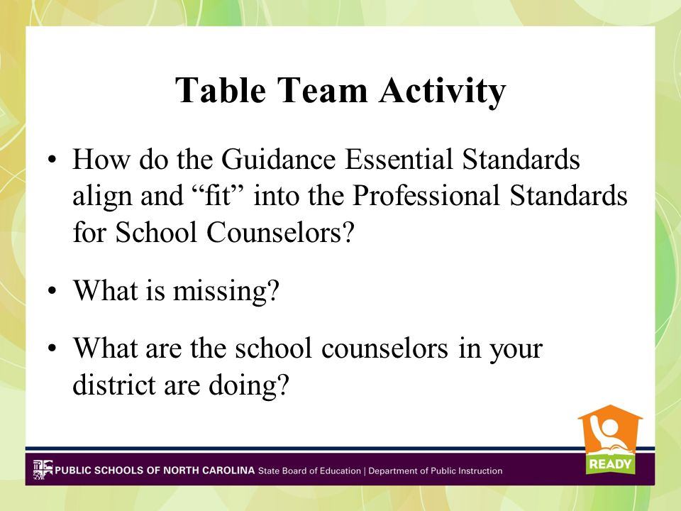 """Table Team Activity How do the Guidance Essential Standards align and """"fit"""" into the Professional Standards for School Counselors? What is missing? Wh"""