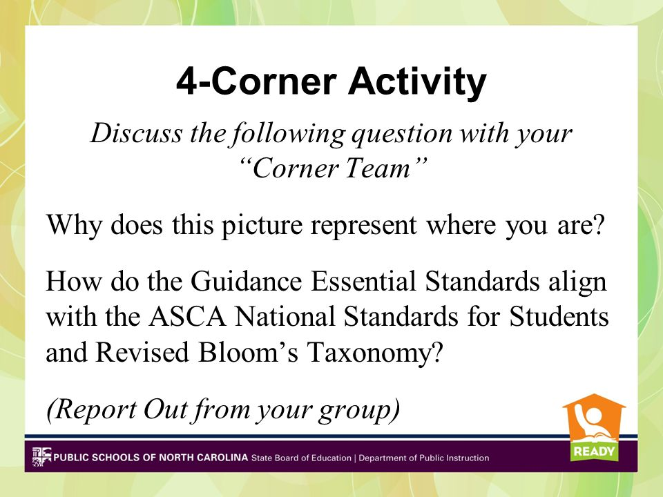 """4-Corner Activity Discuss the following question with your """"Corner Team"""" Why does this picture represent where you are? How do the Guidance Essential"""