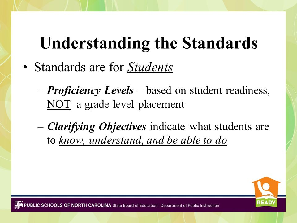 Understanding the Standards Standards are for Students –Proficiency Levels – based on student readiness, NOT a grade level placement –Clarifying Objec