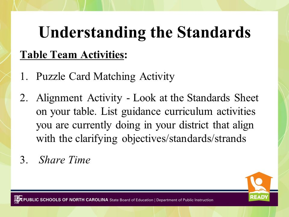 Understanding the Standards Table Team Activities: 1.Puzzle Card Matching Activity 2.Alignment Activity - Look at the Standards Sheet on your table.