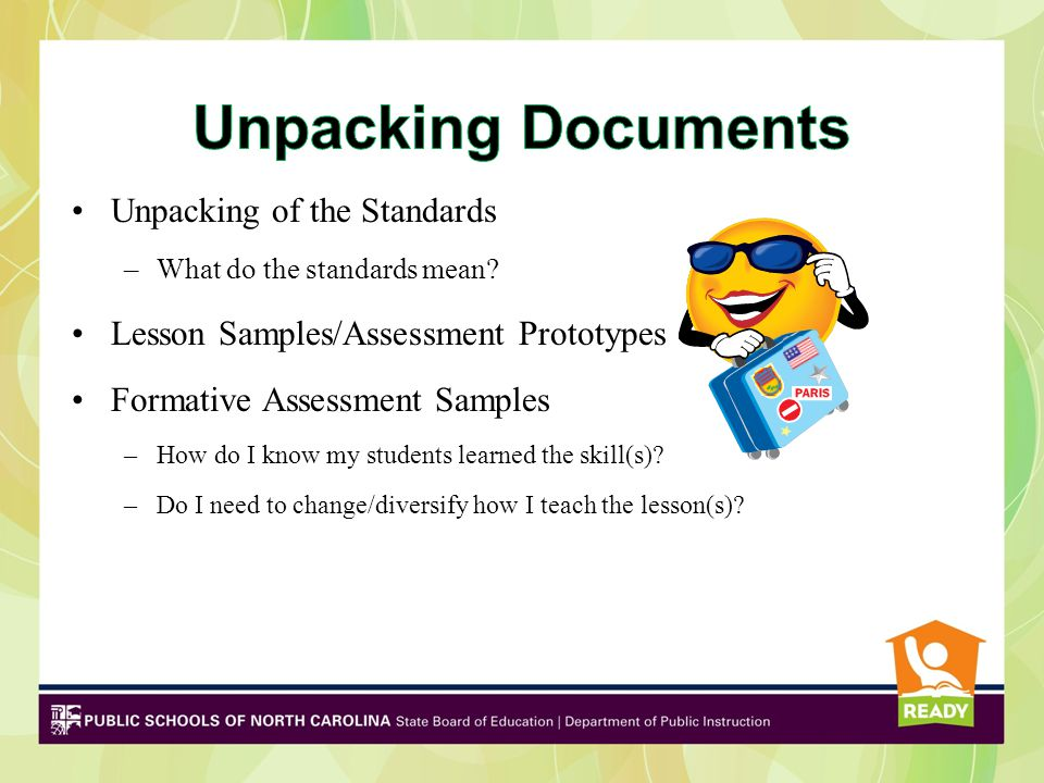 Unpacking of the Standards –What do the standards mean? Lesson Samples/Assessment Prototypes Formative Assessment Samples –How do I know my students l