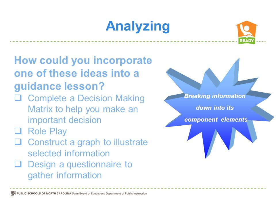 Analyzing Breaking information down into its component elements How could you incorporate one of these ideas into a guidance lesson.