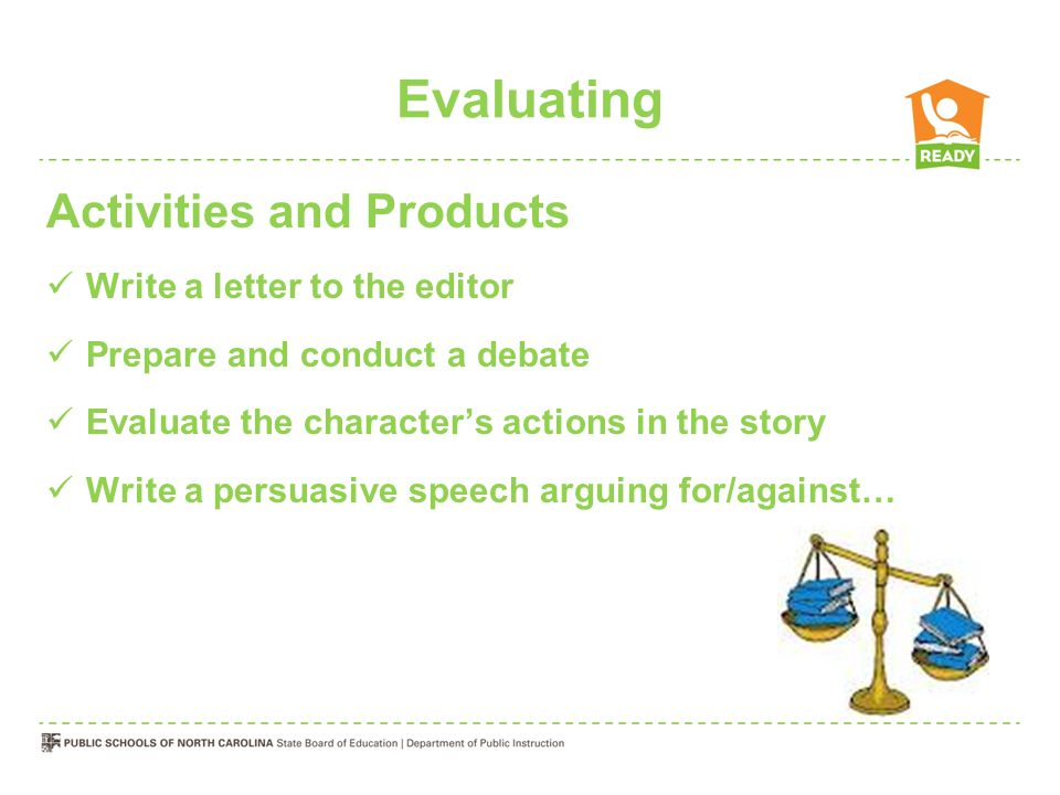 Evaluating Activities and Products Write a letter to the editor Prepare and conduct a debate Evaluate the character's actions in the story Write a per