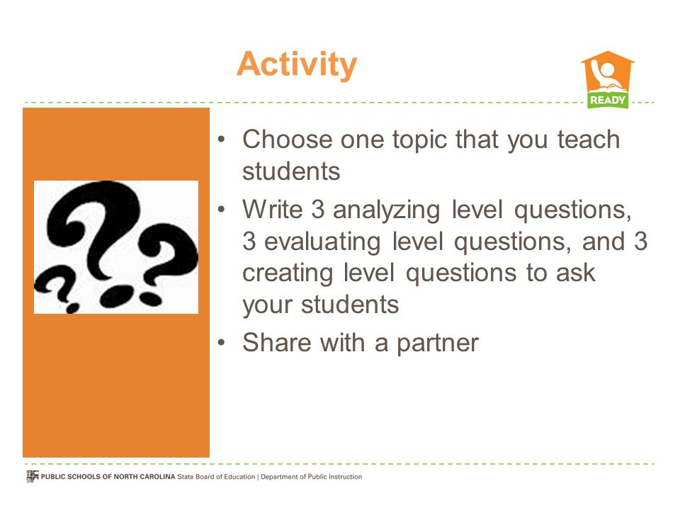 Activity Choose one topic that you teach students Write 3 analyzing level questions, 3 evaluating level questions, and 3 creating level questions to ask your students Share with a partner