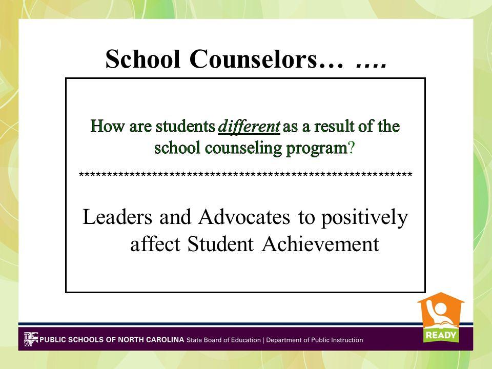 School Counselors… ….