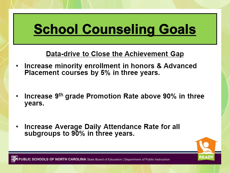 Data-drive to Close the Achievement Gap Increase minority enrollment in honors & Advanced Placement courses by 5% in three years. Increase 9 th grade