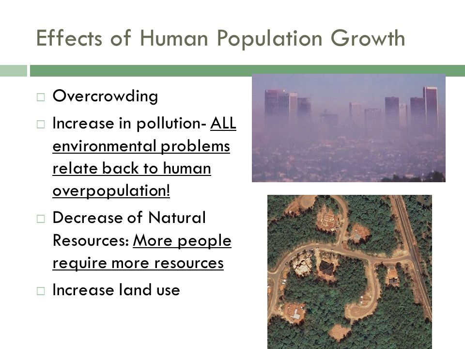 Effects of Human Population Growth  Overcrowding  Increase in pollution- ALL environmental problems relate back to human overpopulation!  Decrease