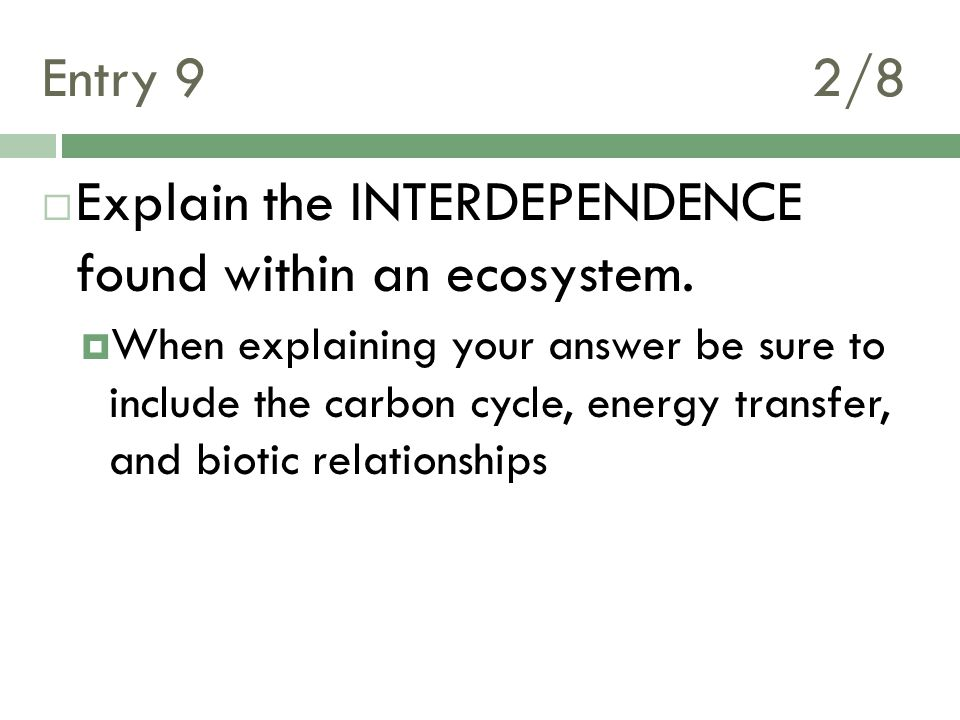 Entry 9 2/8  Explain the INTERDEPENDENCE found within an ecosystem.  When explaining your answer be sure to include the carbon cycle, energy transfe