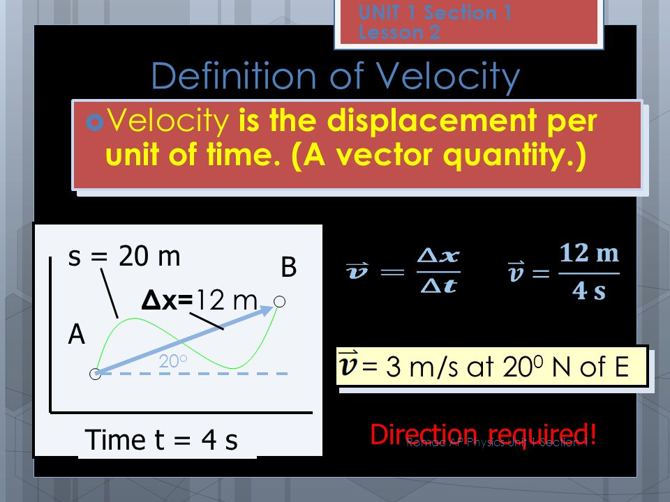Definition of Speed  Speed is the distance traveled per unit of time (a scalar quantity). v s = = dtdt 20 m 4 s v s = 5 m/s Not direction dependent!