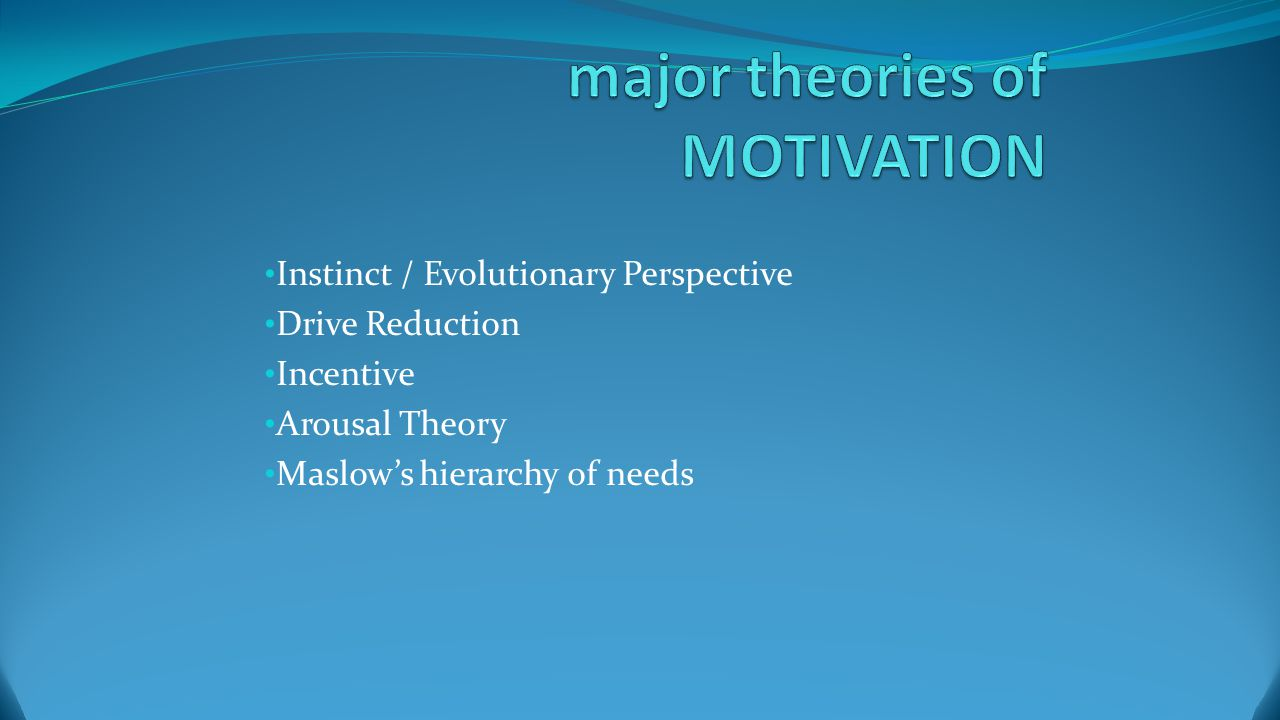 Objectives and agenda Objectives Review and be able to work with the theories of motivation Practice the hunger biological drive Review the different types of Achievement motivation Agenda Work on worksheet as a warm-up Notes (quiz) on theories of motivation Skit on hunger drive Achievement motivation notes Work on Study guide.----Review WIKI