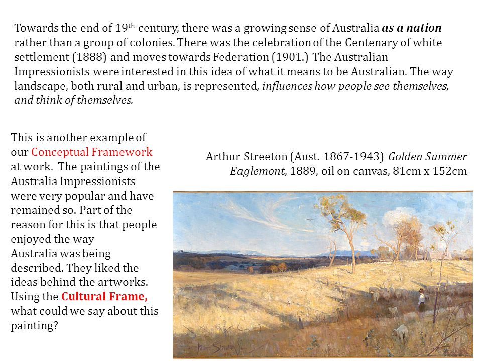 Plein air painting, mentioned last session with the French Impressionists, was adopted by the Australian artists of this period.