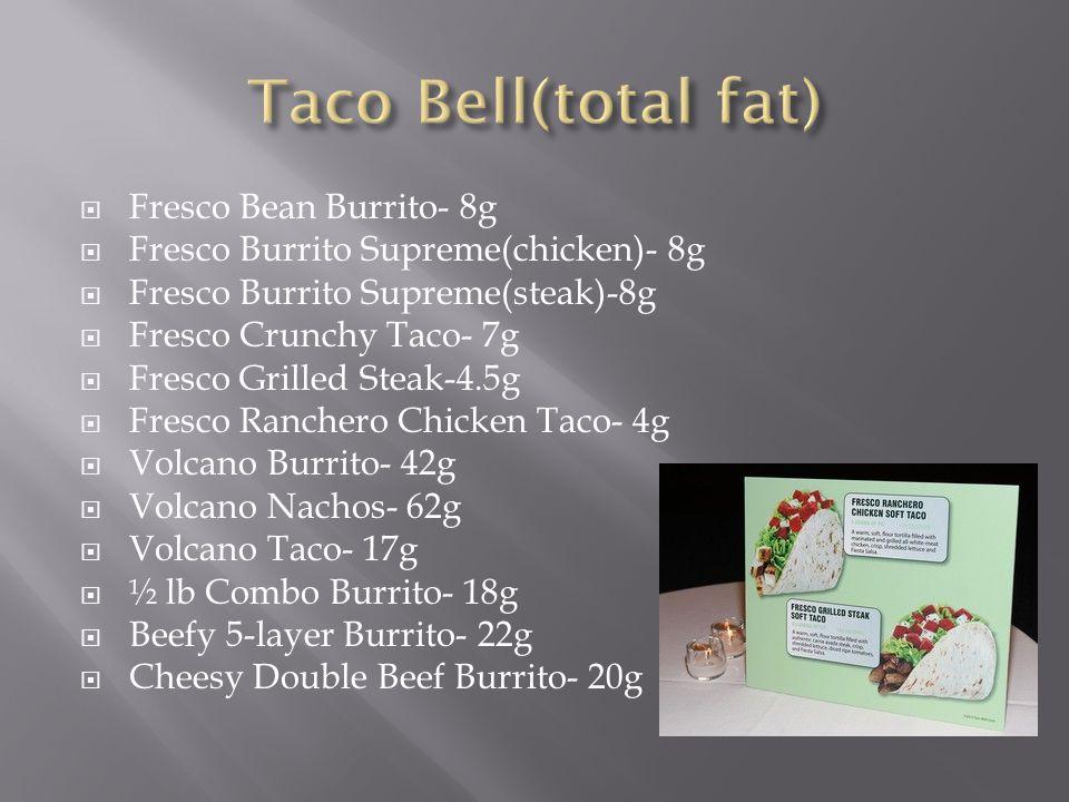  Fresco Bean Burrito- 8g  Fresco Burrito Supreme(chicken)- 8g  Fresco Burrito Supreme(steak)-8g  Fresco Crunchy Taco- 7g  Fresco Grilled Steak-4.