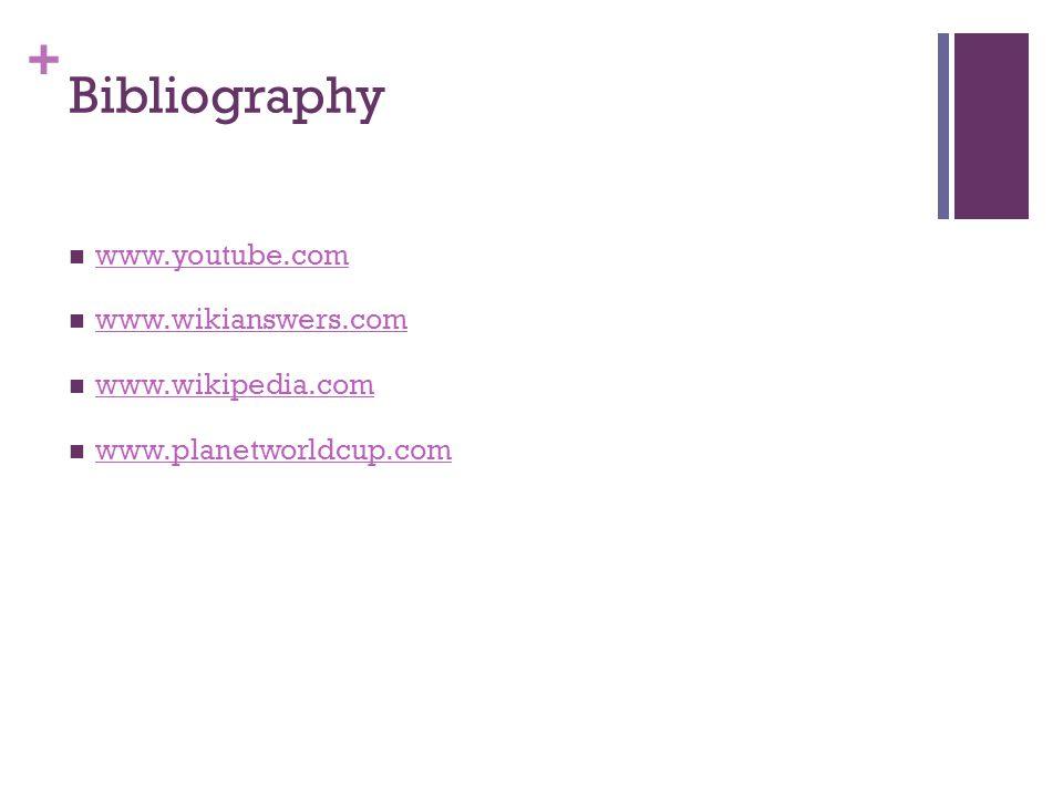 + Bibliography www.youtube.com www.wikianswers.com www.wikipedia.com www.planetworldcup.com