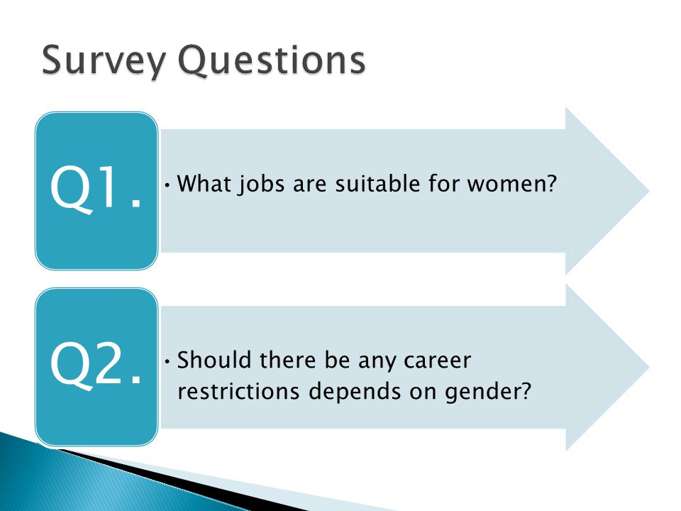 What jobs are suitable for women? Q1. Should there be any career restrictions depends on gender? Q2.
