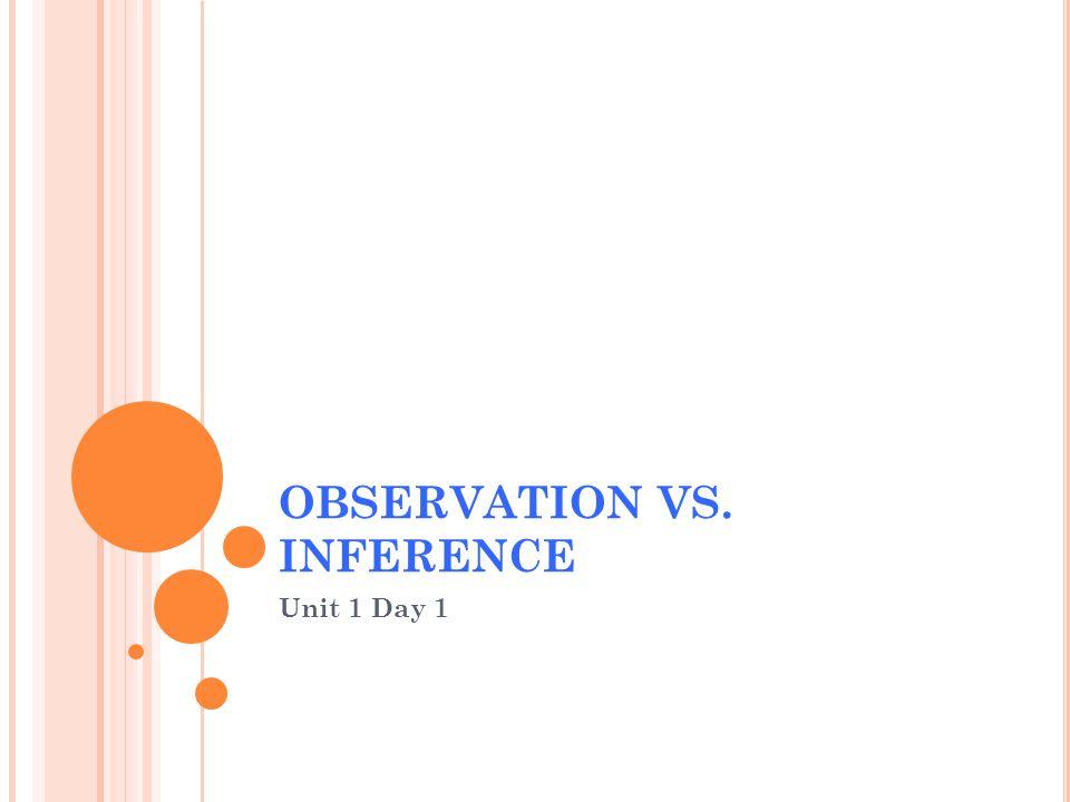 OBSERVATION VS. INFERENCE Unit 1 Day 1