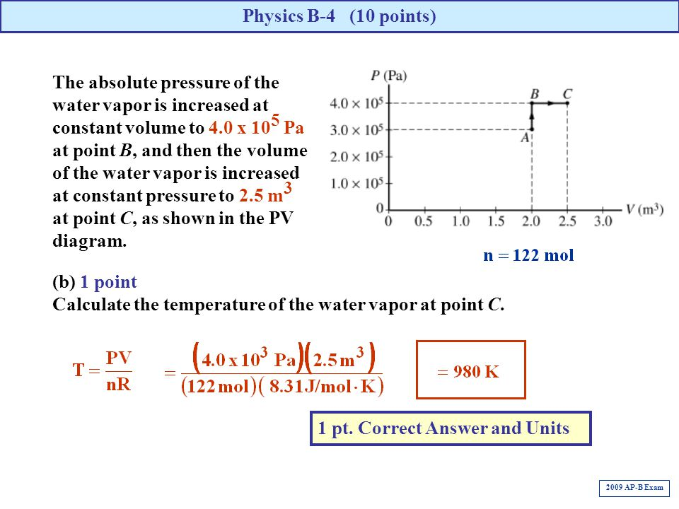 (b) 1 point Calculate the temperature of the water vapor at point C. Physics B-4 (10 points) 1 pt. Correct Answer and Units 2009 AP-B Exam The absolut