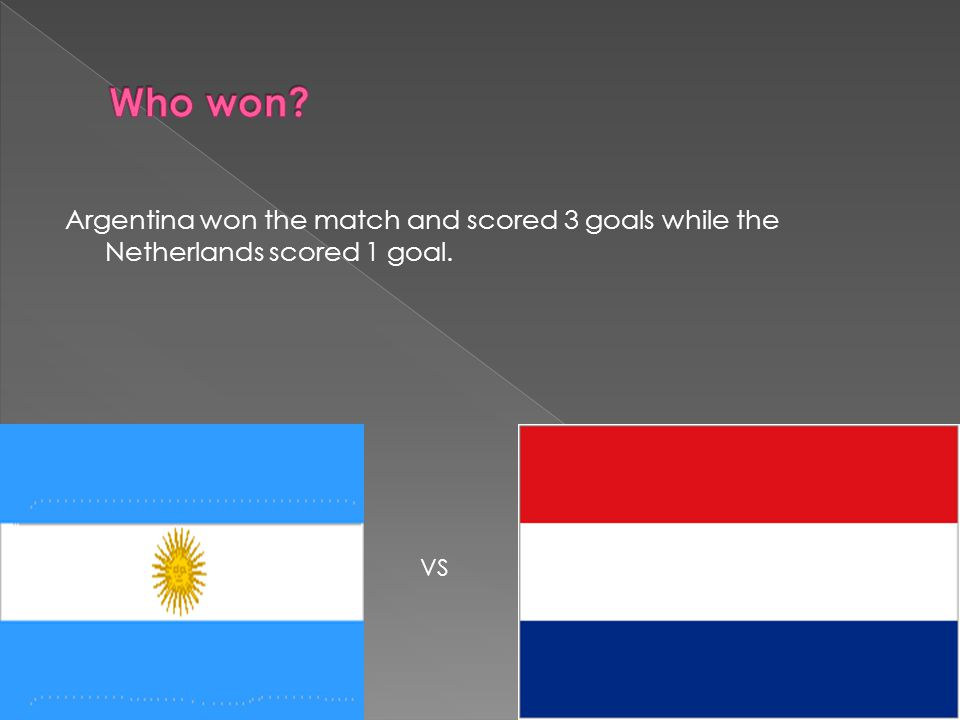 In the 38th minute one of Argentina's players Kempes scored a goal 1-0 In the 80 th minute one of Netherlands players Nanninga scored a goal the result was 1-1 15 minutes into extra time Kempes once again scored another goal 2-1 Bertoni scored the last goal which was in the 115 minutes